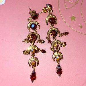 Chandelier Prom Earrings- moons & brown stones